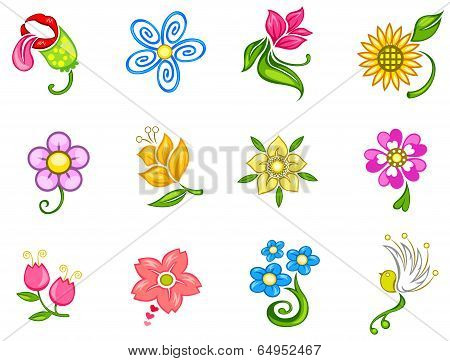 Colorful Fantasy Flower Icon Collection Set 1 (vector)