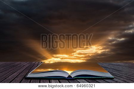Creative Concept Image Stunning Vibrant Summer Dramatic Sunset Sky Clouds