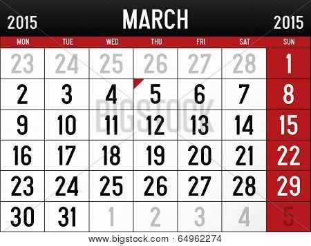 Calendar for March 2015