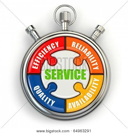 Service puzzle on white background. Conceptual three-dimensional image.