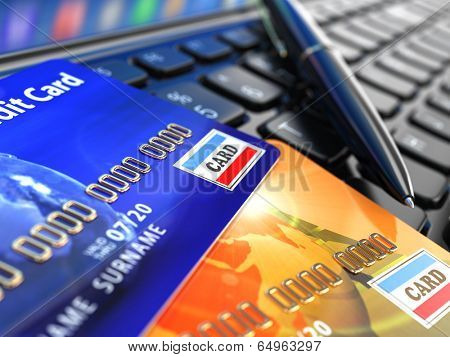 Online shopping. Credit card on laptop keyboard. E-commerce. 3d