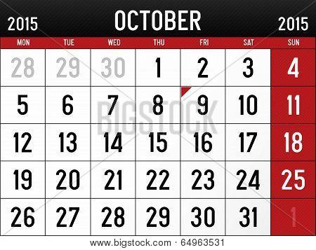 Calendar for October 2015