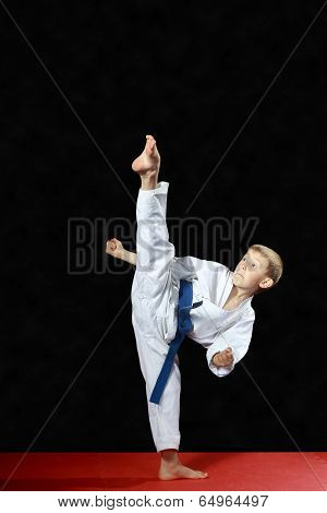 On a black background and red mat the boy beat blow leg mawashi geri