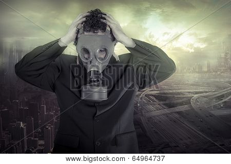 Risk, Business man Ecological disaster, businessman lamenting