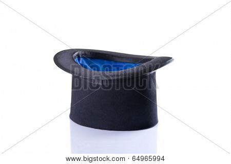 Black and blue magician top hat, isolated on white background