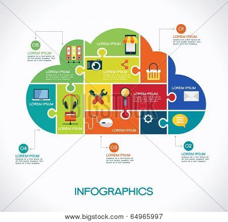 cloud computing infographic Template with interface icons, puzzle, clouds and text. cloud computing concept