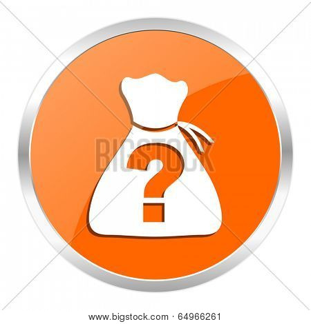 riddle orange glossy icon