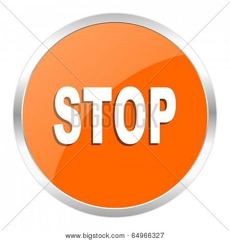 stop orange glossy icon