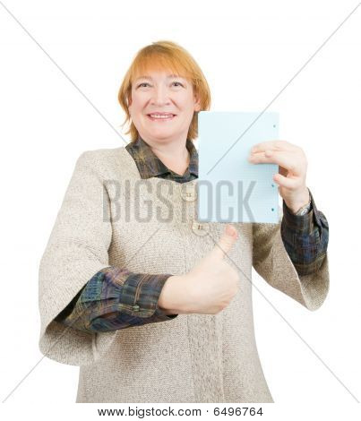 Smiling Senior Woman Holding Empty Blue Poster