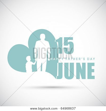 Flyer, poster or banner design with white silhouette of a young man holding hand of his kid and stylish text on grey background.