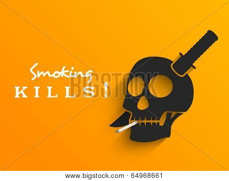Stylish poster, banner or flyer design with sword in human skull and text smoking kills on yellow background for World No Smoking Day.