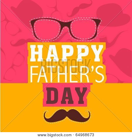 Colourful Happy Father's Day celebration poster, banner or flyer design with specs and mustache on pink and yellow background.