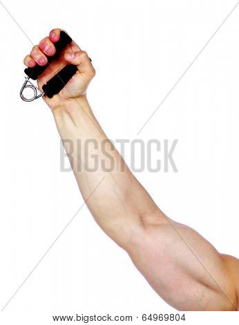 Closeup portrait of a hand with expander isolated on a white background