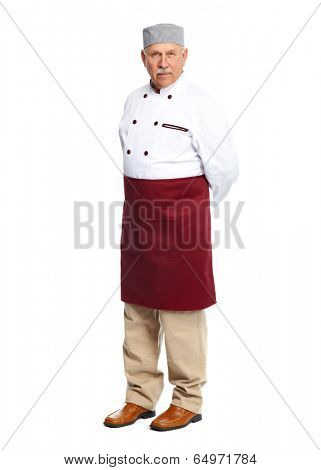 Senior professional chef man. Isolated over white background
