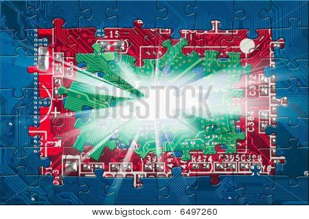 Abstract Electronic Circuit Board Puzzle Background With Rays
