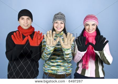 Happy Friends Showing Palms In Gloves