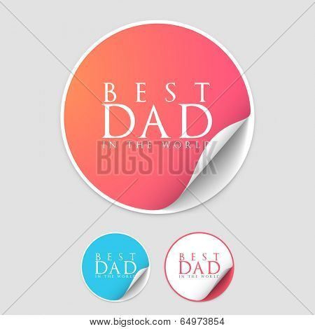 Happy Father's Day celebrations sticky design with stylish text Best Dad, available in glossy pink, blue and white colours on grey background.