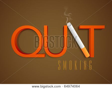 World No Tobacco Day concept with stylish text Quit Smoking and cigarette on brown background.