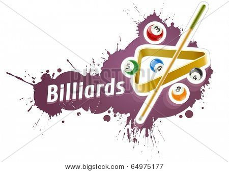Ball and cue for playing  billiard game over grunge splash. Eps10 vector illustration. Isolated on white background