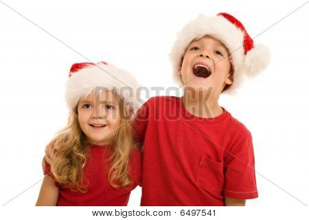 Laughing Christmas Kids Looking Aside