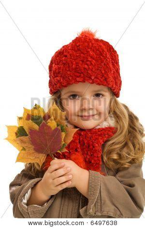 Little Girl Autumn Portrait - Isolated