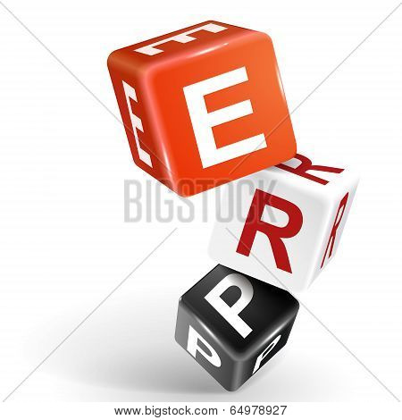 3D Dice Illustration With Word Erp