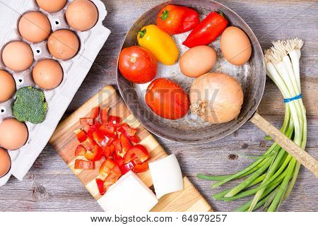 Preparing Ingredients For A Tasy Omelette