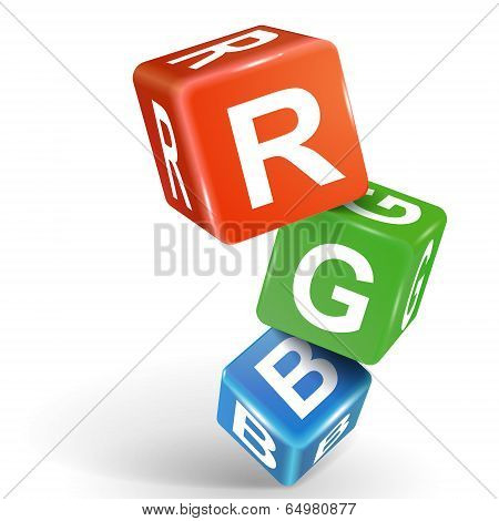 3D Dice Illustration With Word Rgb