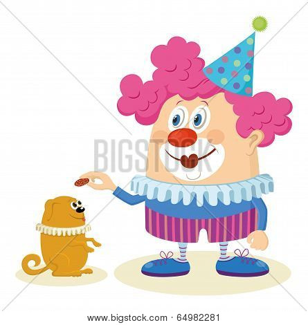 Clown with trained dog
