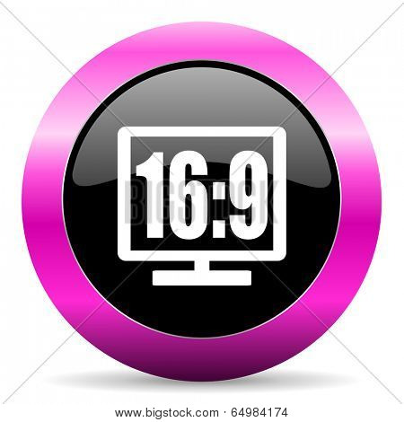 16 9 display pink glossy icon