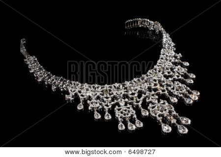 Close up of diamond necklace