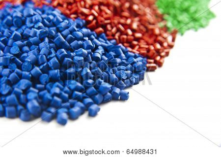 plastic polymer granule product isolated on white