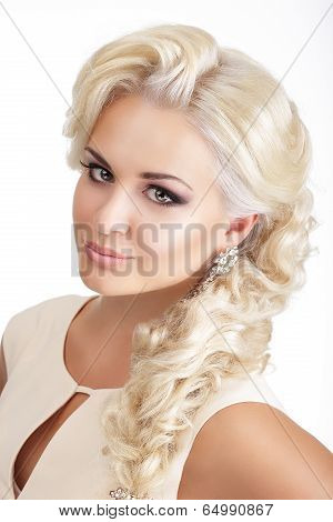 Portrait Of Young Glamorous Blond With Tress
