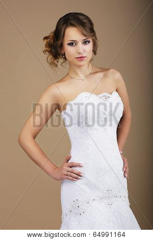 Lovely Woman Wearing White Bridal Dress