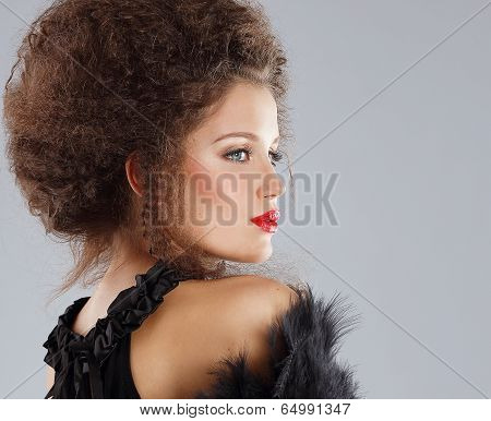 Gorgeous Woman Fashion Model With Waved Hair