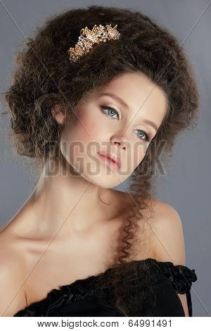 Dreamy Gentle Serene With Frizzy Brown Hair And Golden Brooch