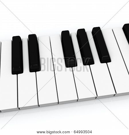 Piano keys, 3d