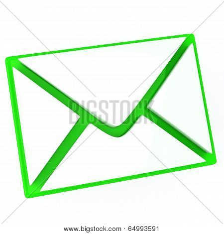 Green envelope - email icon, 3d
