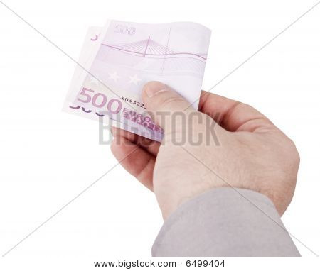 Hand With Euros (clipping Path Included)