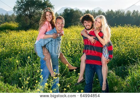 Happy Young Couples Enjoying Nature