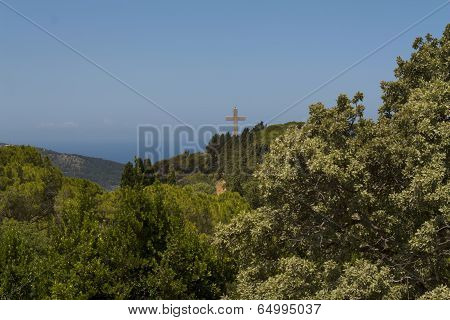 Cross And The Observation Deck On The Mount Filerimos, Greece, Rhodes