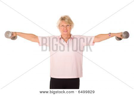 Retired Lady Lifting Weights