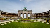 stock photo of erection  - U shaped building erected on occasion of 50th anniversary of Belgium in the Jubilee Park Brussels - JPG