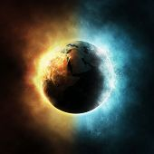 stock photo of orbs  - The planet Earth surrounded with fire and water elements - JPG