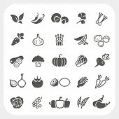 stock photo of turnips  - Vegetable icons set isolated on white background - JPG