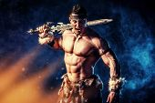 foto of swords  - Portrait of a handsome muscular ancient warrior with a sword - JPG
