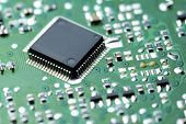 picture of transistor  - Closeup of a chip in an integrated circuit - JPG