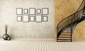 foto of staircases  - Vintage room with black circular staircase  - JPG