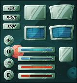 stock photo of sci-fi  - Illustration of a set of various cartoon design ui game space and scifi elements including banners signs buttons load bar and app icon with stars and planets background - JPG
