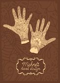 stock photo of mehndi  - Mehndi Hand design illustration with two hands showing intricate patterns created using mehndi or henna paste to stain the skin - JPG